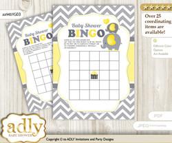 Printable Yellow Grey Elephant Bingo Game Printable Card for Baby Peanut Shower DIY grey, Yellow Grey, Chevron