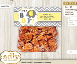 Printable Peanut Elephant Treat or Goodie bag Toppers for Baby Peanut Shower or Birthday DIY Yellow Grey, Chevron