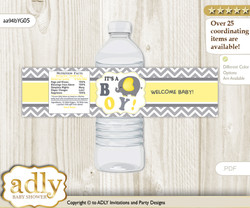 Peanut Elephant Water Bottle Wrappers, Labels for a Elephant  Baby Shower, Yellow Grey, Chevron