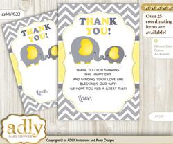 Peanut  Elephant Thank you Cards for a Baby Peanut Shower or Birthday DIY Yellow Grey, Chevron