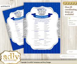 Boy Crown What is in Mommy's Purse, Baby Shower Purse Game Printable Card , Silver Blue,  Royal