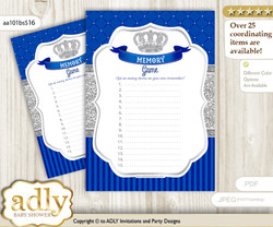 Boy Crown Memory Game Card for Baby Shower, Printable Guess Card, Silver Blue, Royal