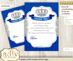 Boy  Crown Thank you Cards for a Baby Boy Shower or Birthday DIY Silver Blue, Royal
