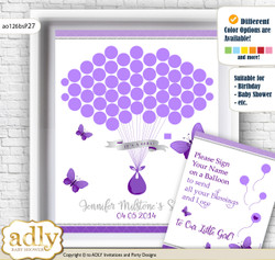 Girl Butterfly Guest Book Alternative for a Baby Shower, Creative Nursery Wall Art Gift, Silver, Purple