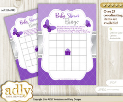 Printable Silver Butterfly Bingo Game Printable Card for Baby Girl Shower DIY grey, Silver, Purple