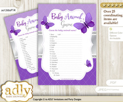 Printable Girl Butterfly Baby Animal Game, Guess Names of Baby Animals Printable for Baby Butterfly Shower, Silver, Purple