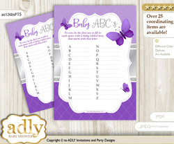 Girl Butterfly Baby ABC's Game, guess Animals Printable Card for Baby Butterfly Shower DIY – Purple