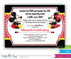 Twins baby Shower, Mickey and Minnie mouse Baby Shower Invitation card, doubles, girl and boy shower, red, yellow, black polka