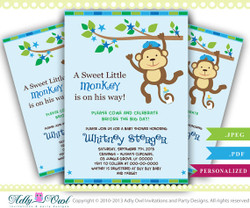 Blue Monkey Baby Shower Invitation card, Cute little monkey boy is on the way card for boy baby shower,blue stars