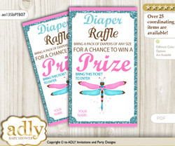 Girl Dragonfly Diaper Raffle Printable Tickets for Baby Shower, Pink Teal, Glitter