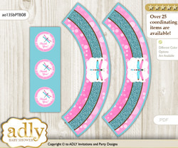 Printable Girl Dragonfly Cupcake, Muffins Wrappers plus Thank You tags for Baby Shower Pink Teal, Glitter
