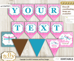 Personalized Girl Dragonfly Printable Banner for Baby Shower, Pink Teal, Glitter