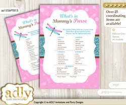 Girl Dragonfly What is in Mommy's Purse, Baby Shower Purse Game Printable Card , Pink Teal,  Glitter