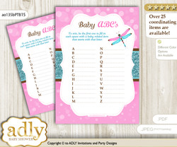 Girl Dragonfly Baby ABC's Game, guess Animals Printable Card for Baby0 Dragonfly Shower DIY – Glitter n