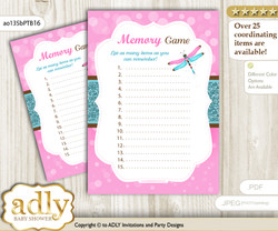Girl Dragonfly Memory Game Card for Baby Shower, Printable Guess Card, Pink Teal, Glitter