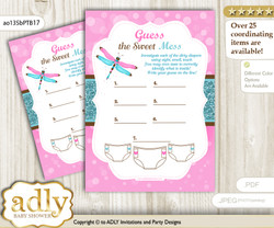 Girl Dragonfly Dirty Diaper Game or Guess Sweet Mess Game for a Baby Shower Pink Teal, Glitter