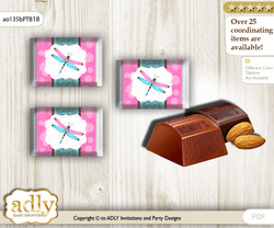 Girl Dragonfly Chocolate Nuggets Candy Wrapper Label for Baby Girl Shower  Pink Teal , Glitter