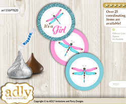 Printable  Girl Dragonfly Candy Kisses for Baby Girl Shower DIY Pink Teal , Glitter
