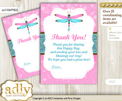 Girl  Dragonfly Thank you Cards for a Baby Girl Shower or Birthday DIY Pink Teal, Glitter