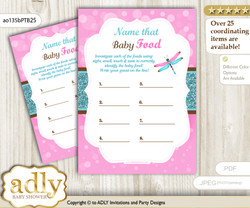 Girl Dragonfly Guess Baby Food Game or Name That Baby Food Game for a Baby Shower, Pink Teal Glitter