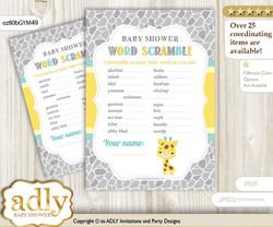 Baby Giraffe Word Scramble Game for Baby Shower