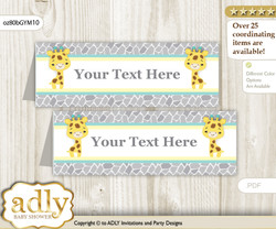 Printable Baby Giraffe Buffet Tags or Food Tent Labels  for a Baby Shower or Birthday , Yellow Mint, Neutral