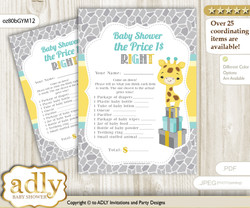 Printable Baby Giraffe Price is Right Game Card for Baby Giraffe Shower, Yellow Mint, Neutral