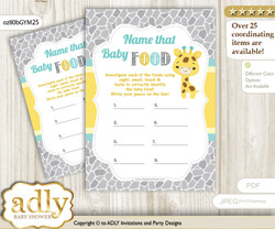 Baby Giraffe Guess Baby Food Game or Name That Baby Food Game for a Baby Shower, Yellow Mint Neutral