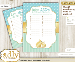 Neutral Bunny Baby ABC's Game, guess Animals Printable Card for Baby Bunny Shower DIY – Polka