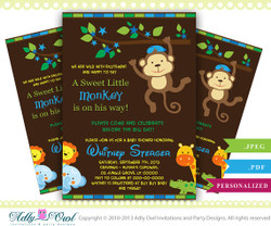 Boy Monkey Jungle Baby Shower Invitation,Safari boy baby shower,elephant,crocodile,giraffe,lion- digital file only