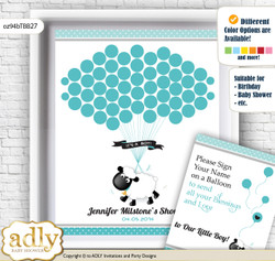 Boy Lamb Guest Book Alternative for a Baby Shower, Creative Nursery Wall Art Gift, Turquoise, Polka