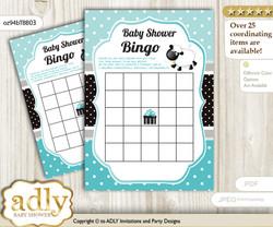 Printable Turquoise Lamb Bingo Game Printable Card for Baby Boy Shower DIY grey, Turquoise, Polka