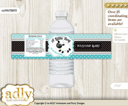Boy Lamb Water Bottle Wrappers, Labels for a Lamb  Baby Shower, Turquoise, Polka
