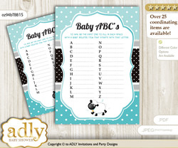 Boy Lamb Baby ABC's Game, guess Animals Printable Card for Baby Lamb Shower DIY – Polka