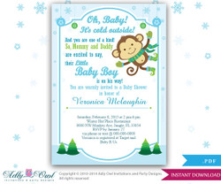 Winter Monkey Baby Shower Invitation card, Cute little Boy monkey is on the way. Oh, baby it's cold outside card ,blue green