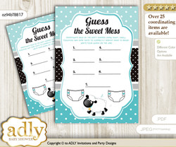 Boy Lamb Dirty Diaper Game or Guess Sweet Mess Game for a Baby Shower Turquoise, Polka