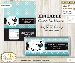 Personalizable Boy Lamb Chocolate Bar Candy Wrapper Label for Boy  baby shower, birthday Turquoise , Polka