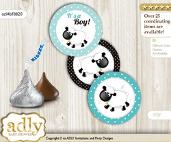 Printable  Boy Lamb Candy Kisses for Baby Boy Shower DIY Turquoise , Polka