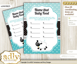 Boy Lamb Guess Baby Food Game or Name That Baby Food Game for a Baby Shower, Turquoise Polka