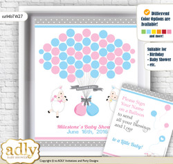 Twins Lamb Guest Book Alternative for a Baby Shower, Creative Nursery Wall Art Gift, Pink Blue, Polka