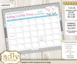Twins Lamb Baby Due Date Calendar, guess baby arrival date game