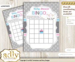 Printable Pink Blue Lamb Bingo Game Printable Card for Baby Twins Shower DIY grey, Pink Blue, Polka
