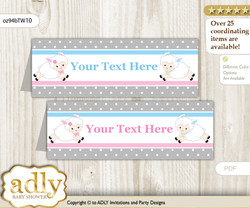 Printable Twins Lamb Buffet Tags or Food Tent Labels  for a Baby Shower or Birthday , Pink Blue, Polka