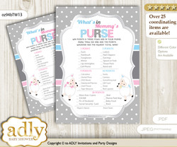 Twins Lamb What is in Mommy's Purse, Baby Shower Purse Game Printable Card , Pink Blue,  Polka