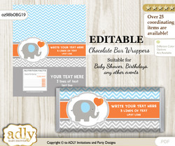 Personalizable Boy Elephant Chocolate Bar Candy Wrapper Label for Boy  baby shower, birthday Grey Orange , Blue