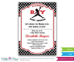 Bouncin' Boy Baby Shower Invitation,Air Jordan inspired baby shower in black, red, polka dots