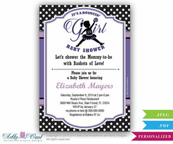 Bouncin' Girl Baby Shower Invitation,Air Jordan inspired baby shower in black, pruple, polka dots