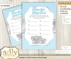 Boy Elephant Guess Baby Food Game or Name That Baby Food Game for a Baby Shower, Grey Blue Polka