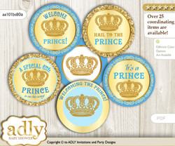 Baby Shower Royal Prince Cupcake Toppers Printable File for Little Royal and Mommy-to-be, favor tags, circle toppers, Crown, Blue n