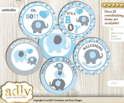 Baby Shower Boy Peanut Cupcake Toppers Printable File for Little Boy and Mommy-to-be, favor tags, circle toppers, Polka, Blue Grey